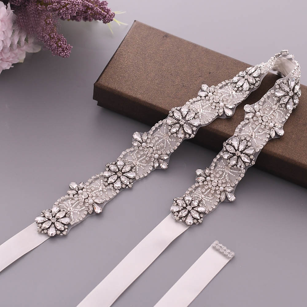 TRiXY S441 Sparkly Crystal Wedding Belts Rhinestone Wedding Dress Belt Wedding Dress Accessories Bridal Sash Bridal Belt