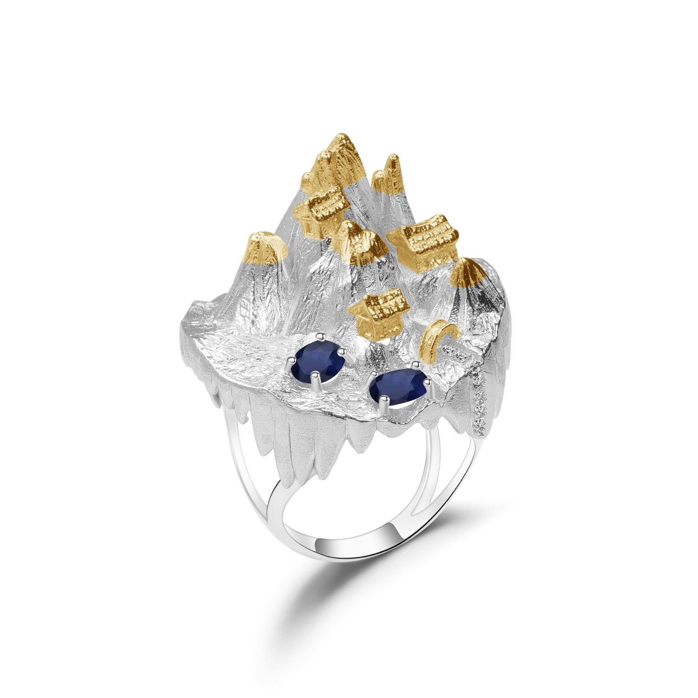 GEM'S BALLET Natural Sapphire Gemstone Ring For Women Halloween Horror Story 925 Sterling Silver Plated Gold Handmade Ring