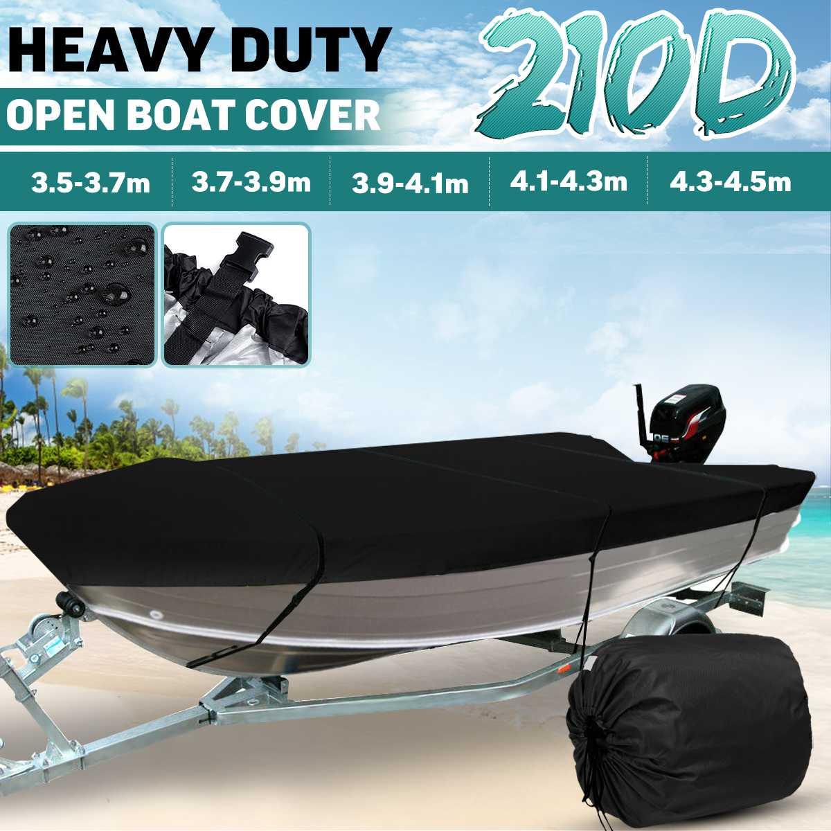 3.5-4.5m Black Trailerable Heavy Duty Open Boat Cover Fishing Ski Runabout Waterproof 210D Sunproof Anti UV V-Hull Boat Cover