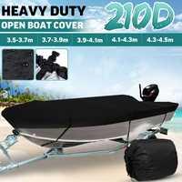 3.5-4.5m preto trailerable resistente aberto barco capa de esqui de pesca runabout impermeável 210d sunproof anti uv v-casco barco capa
