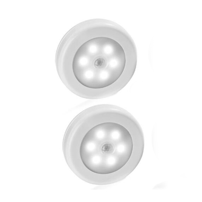 Color White 2PCS  Infrared PIR Motion Sensor 6 Led Night Light Wireless Detector  Wall Lamp Light Auto On/Off   Battery Power