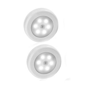 Image 1 - Kleur Wit 2 Stuks Infrarood Pir Motion Sensor 6 Led Nachtlampje Draadloze Detector Wandlamp Licht Auto Op/off Batterij Power