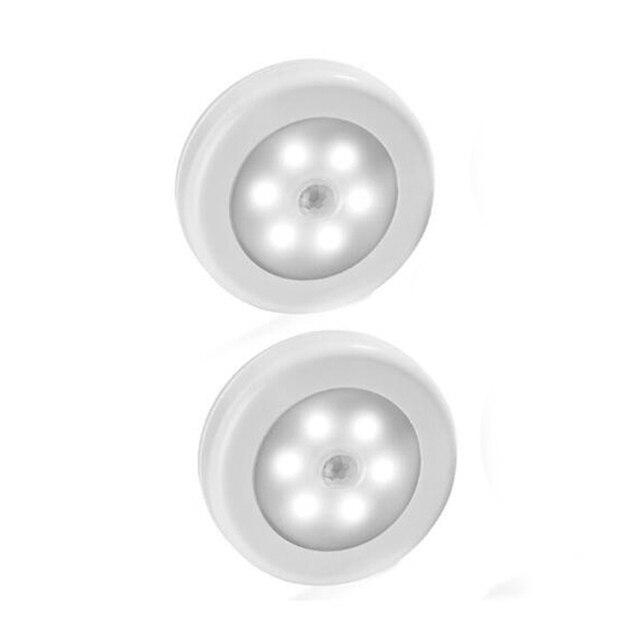 Kleur Wit 2 Stuks Infrarood Pir Motion Sensor 6 Led Nachtlampje Draadloze Detector Wandlamp Licht Auto Op/off Batterij Power