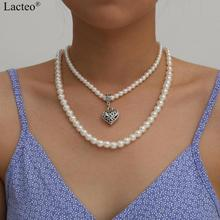 Lacteo Vintage Silver Color Love Heart Pendant Necklace  Minimalist Multi Layered Imitation Pearl Choker Necklace for Women attractive solid color pendant multi layered women s necklace