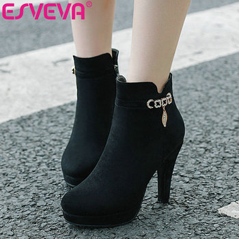 ESVEVA 2020 Western Style Women Shoes Winter Ankle Boots Pointed Toe Flock Zipper Thin High Heel Fashion Boot Size 34-43