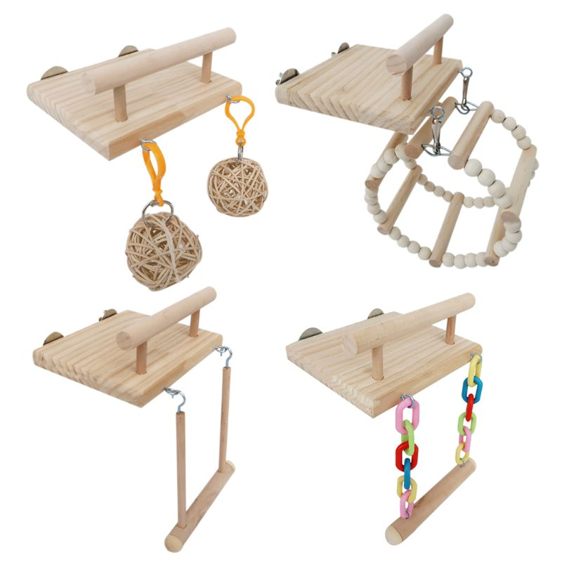 Wooden Bird Parrot Perches Cage Toys Hamster Play Gym Stand With Wood Swing Rattan Ball Toy Bird Supplies C42