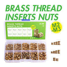 DA-ONE 250/500 Pcs M2 M2.5 M3 Female Thread Brass Knurled Threaded Insert Embedment Nuts Assortment Kit I Knurl Nuts Set