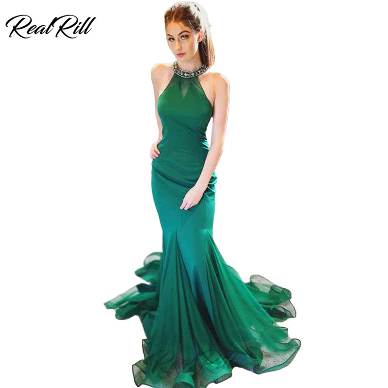 Real Rill Halter Mermaid Evening Dress Beading Lace Up Back Floor Length Sweep Train Formal For Women Tulle Party