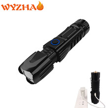High power Zoom LED flashlight xhp-90 supports USB charging input and output with pen, safety hammer and strong light flashlight