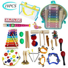 19PC Kinder Anfänger Percussion Musical Spielzeug Rucksack Set Percussion Musical Rhythmus Kognitiven Frühen Bildung Pädagogisches Spielzeug