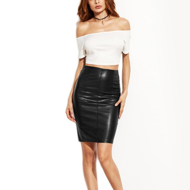 Pu leather γυναικεία φούστα σέξι κομψή μαύρη midi φούστα