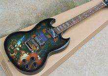 Lol hero league padrão guitarra elétrica sg-400 branco mariscos ponto inlay