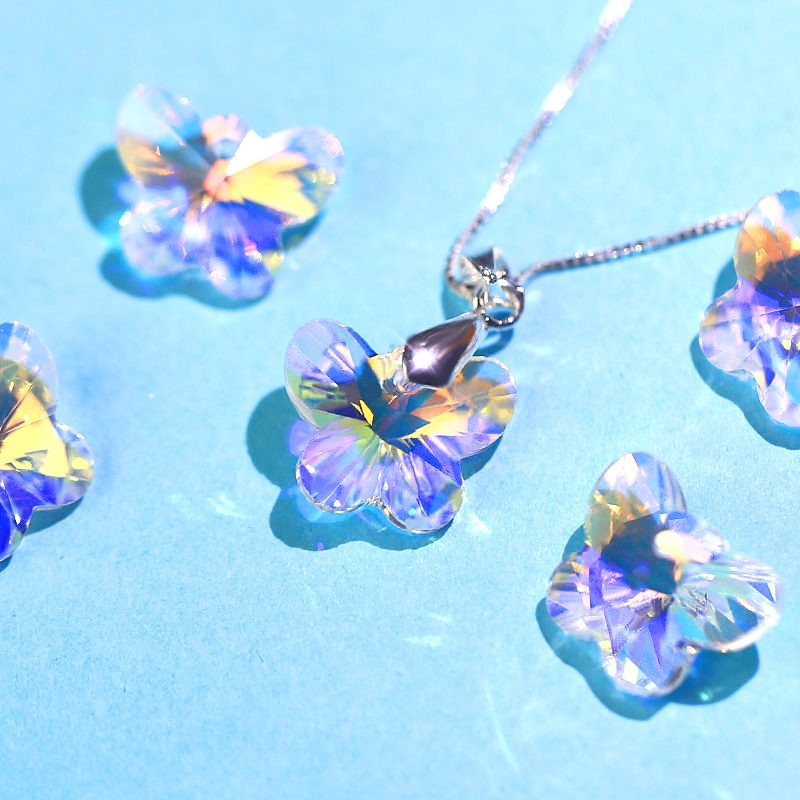 Pendant Faceted x 2pcs Crystal Flower Clear Ab Charm