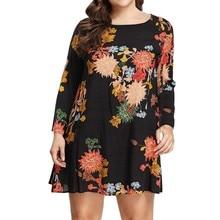 Женское платье ropa mujer vestidos de verano vestidos verano mujer robe femme plus XL-5XL Повседневное платье с длинными рукавами и принтом Z4