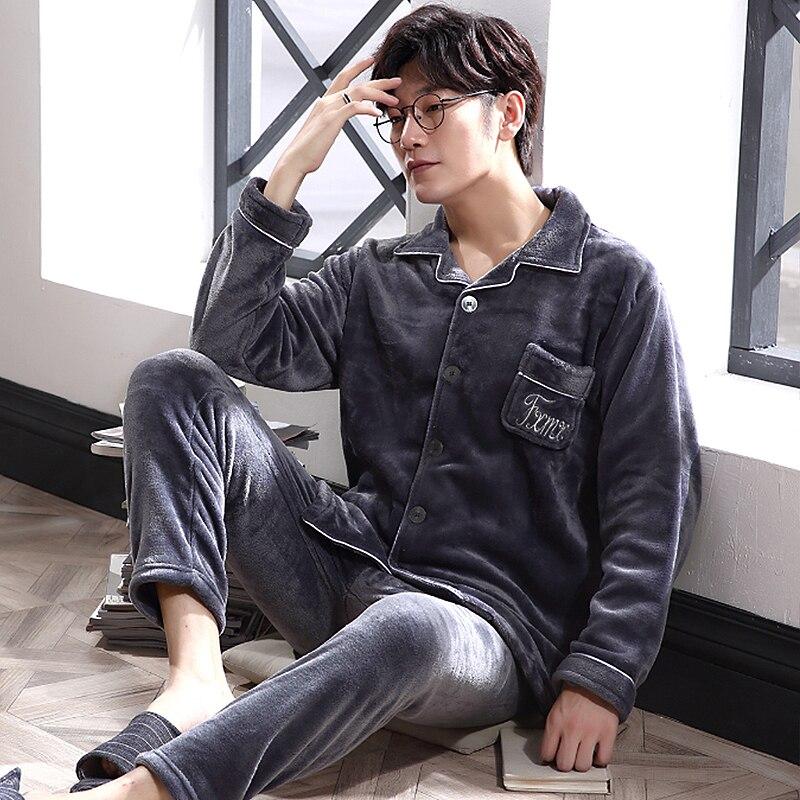Winter Coral Fleece Pajamas Men 2 Pieces Lounge Sleepwear For Male Pijama Bedgown 2019 Home Clothes PJ Grey Warm Thicken Pajamas