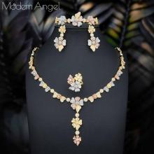 ModemAngel trendy Wedding Necklace Earrings For Women Accessories Flower Cubic Zirconia Bridal Jewelry Sets