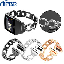 For Fitbit Ionic Bands Crystal Luxury Stainless Steel Metal Replacement Strap With Metal Clasp Buckle Smart Watch Band Bracelet watch strap new accessory watch strap solid stainless steel fashion luxury women metal strap bands for fitbit ionic strap