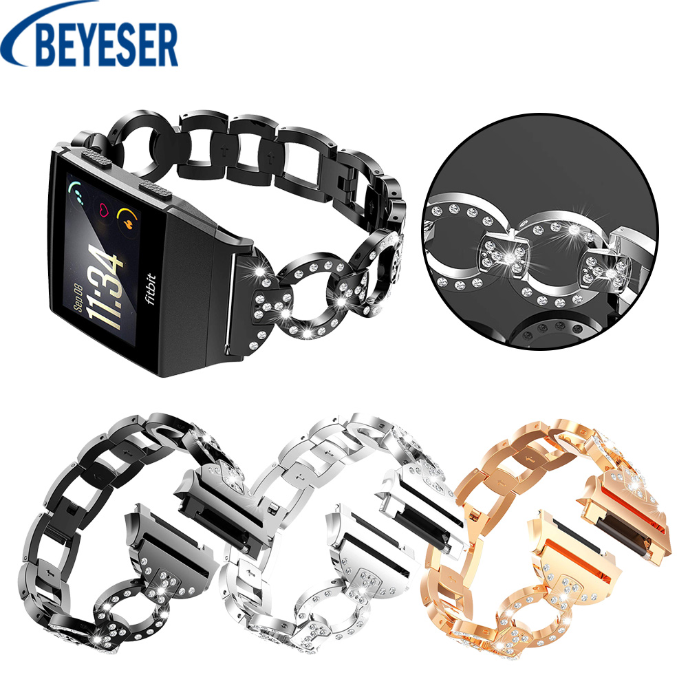 For Fitbit Ionic Bands Crystal Luxury Stainless Steel Metal Replacement Strap With Metal Clasp Buckle Smart Watch Band Bracelet image