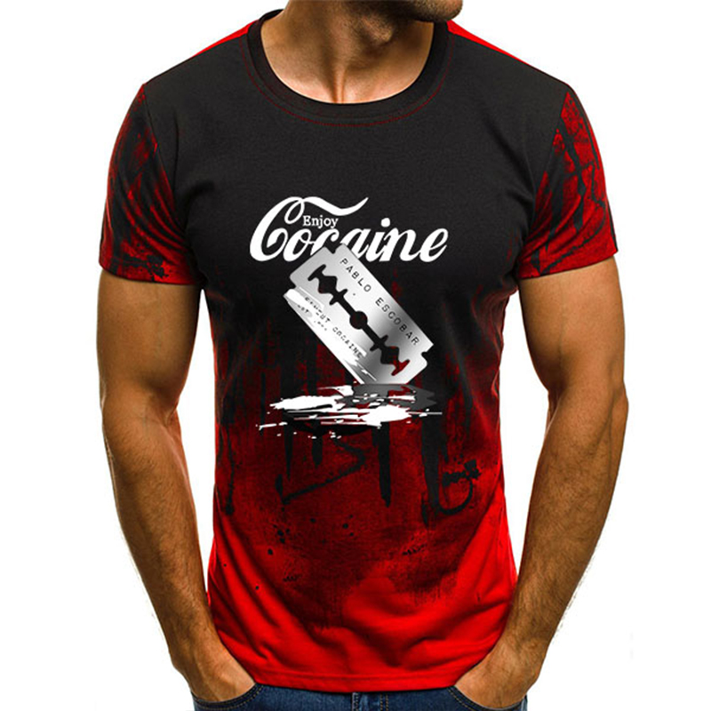 2020 Summer Casual T-shirt Men T Shirts Harajuku Funny Letter Cocaine Male Tops Tee Shirt Short Sleeve Clothes Oversized S-4XL