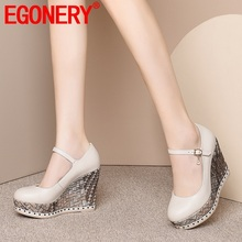 Women Shoes Platform Round-Toe High-Heels New-Fashion Super EGONERY Pu Buckle Spring