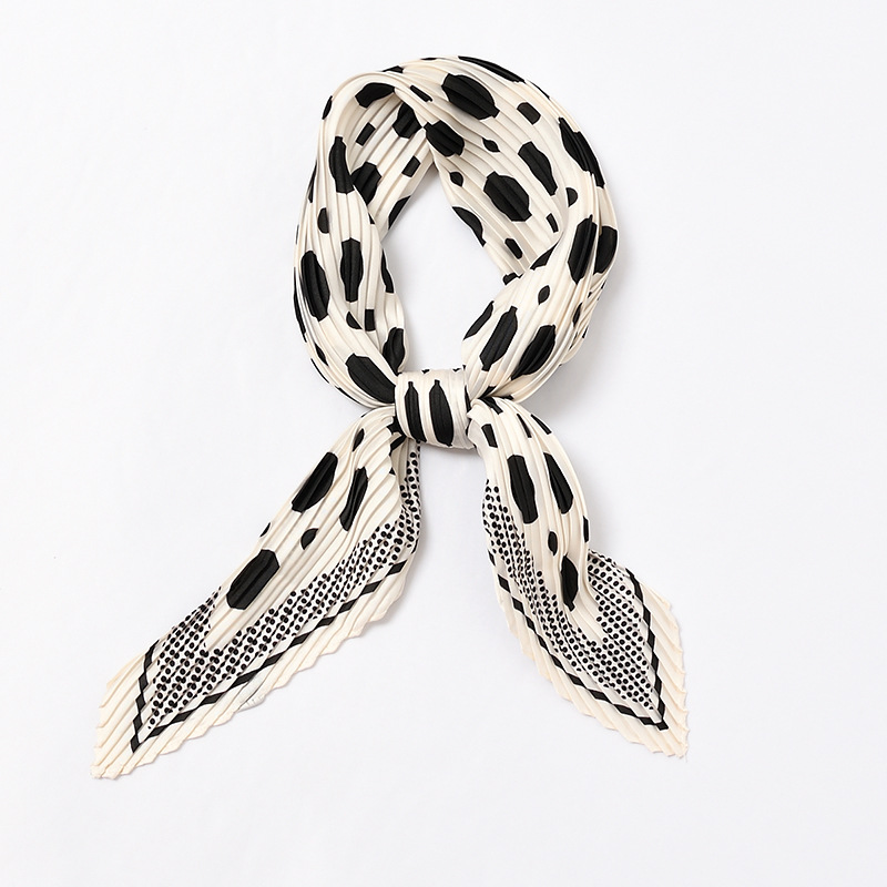 Polka Dots Pleated Scarf For Women Crinkle Silk Neck Wear Chic Print Foulard Square Bandana Head Scarves [3982]