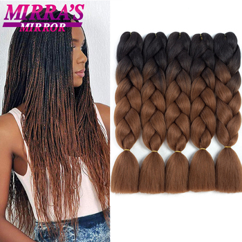 Mirra's Mirror Braiding Hair Extensions Wholesale 24 Inch 100g Synthetic Fake African Braided For Women Brown Green - discount item  40% OFF Synthetic Hair