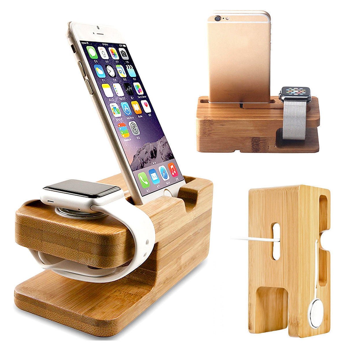 Wood Charging Dock Stand Station Charger Holder For Apple Watch IWatch IPhone Bamboo Phone Holders