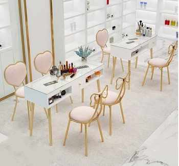 Manicure table and chair set combination Nordic online celebrity single double double manicure table special ins baking white - DISCOUNT ITEM  26 OFF Furniture