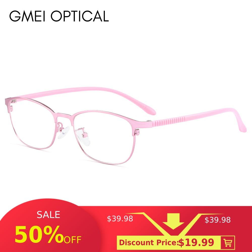 Gmei Optical Urltra-Light Women Titanium Alloy Oval Full Rim Glasses Frames Eyewear With Flexible Legs IP Electroplating Y2516