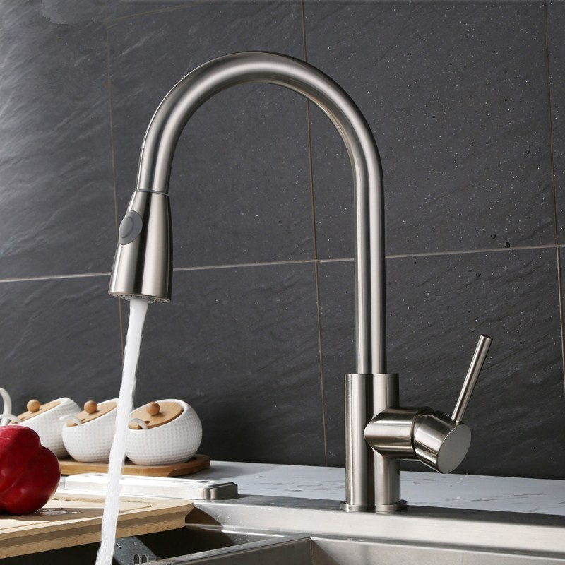 Kitchen Faucets Brass Brushed Nickel 360 Rotation Pull Out Kitchen Sink Crane Faucet Single Lever Rotate Spray Deck Mixer Tap