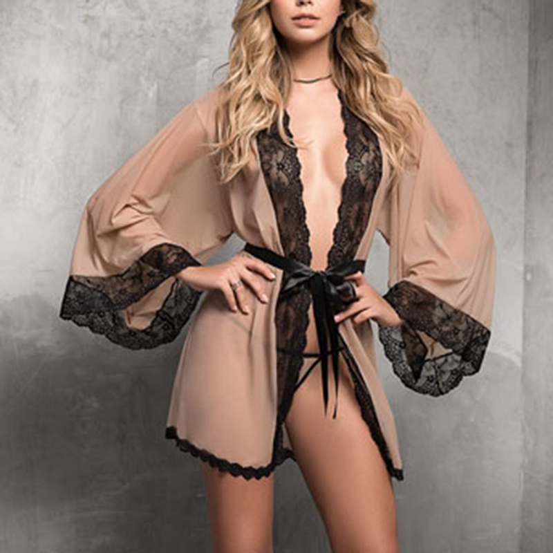 Sexy Lingerie Women Lace Robe Large Size Solid Color Perspective Lace Robe Sexy Ladies Silk Night Wear Home Wearing Sleepwear