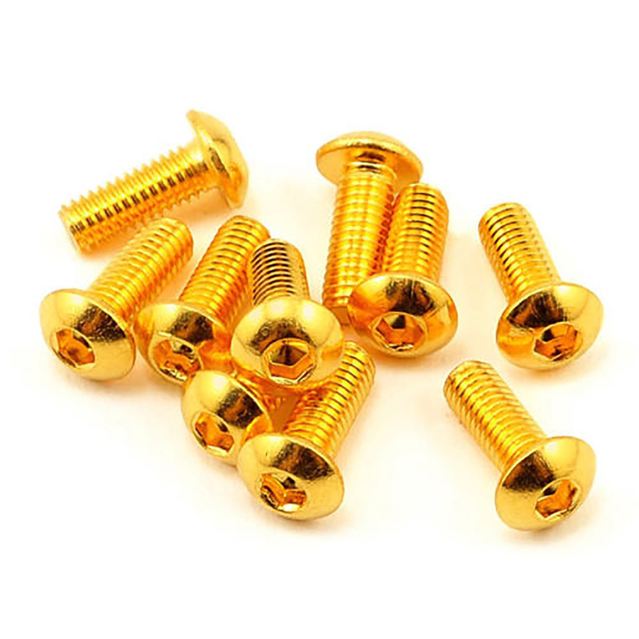 Half Round Head Plating Titanium Gold Button Head Screw Grade 12.9 <font><b>M2</b></font> <font><b>M2</b></font>.5 M3 M4 M5 ISO7380 Hex Socket Screw Length 5-<font><b>30mm</b></font> image
