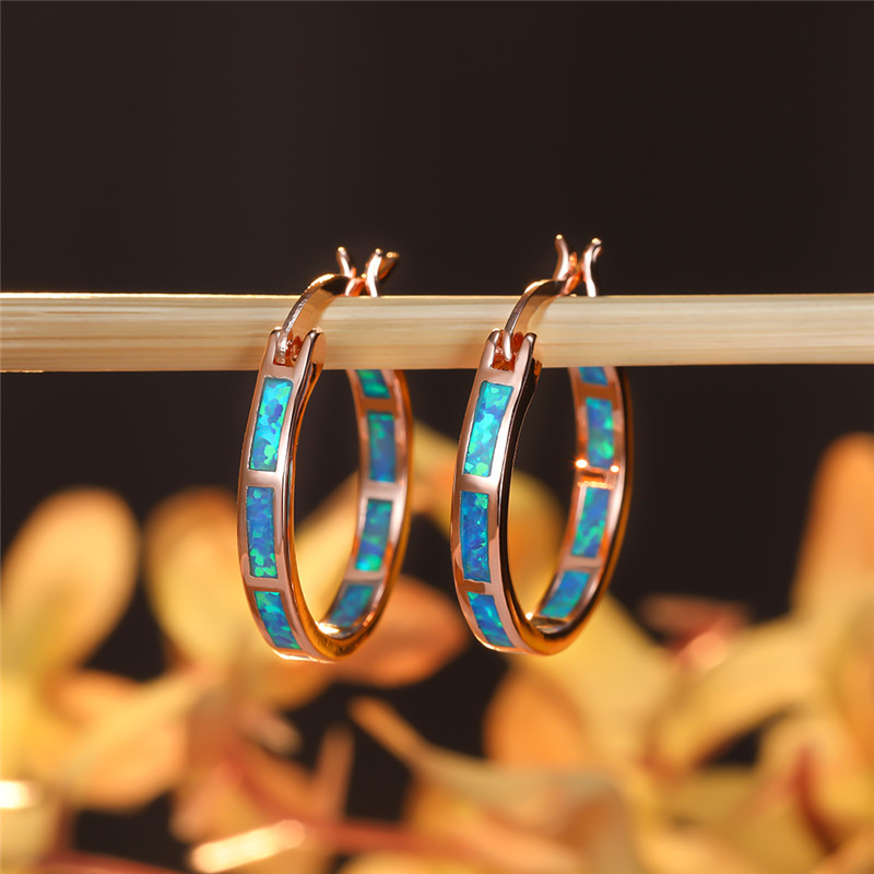Blue Fire Opal Hoop Earrings For Women Wedding Jewelry Vintage Fashion Rose Gold Birthstone Engagement Earrings Girl Bridal Gift