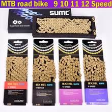 Cadena de transmisión para bicicleta de montaña, 9 velocidades, 10 velocidades, 11 velocidades, 12 velocidades, dorada, amarilla