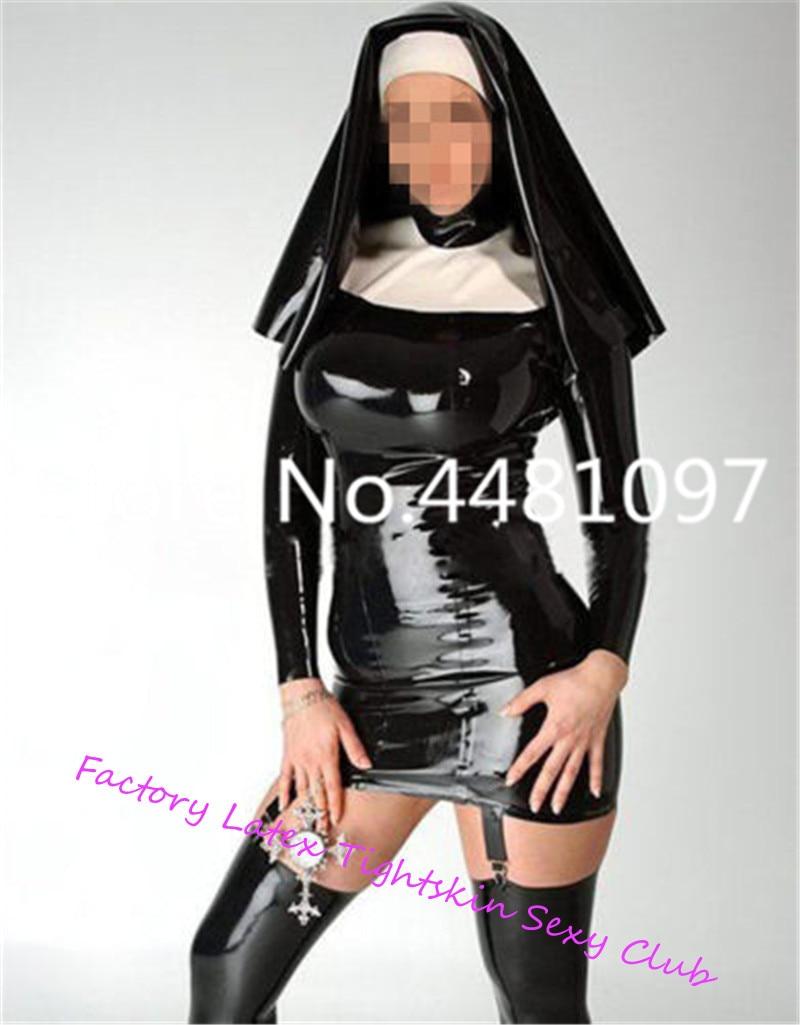 Uniforme de reine des religieuses en Latex avec jarretière en caoutchouc robe Costumes avec capuche Clubwear sexy costumes d'halloween - 1