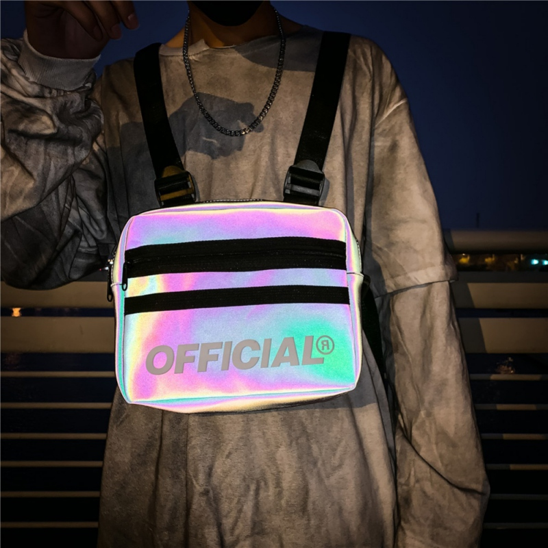 Street Style Reflective Chest Bag For Men Women Multi-function Vest Chest Rig Bag Hip-Hop Waist Bag Packs