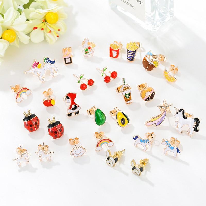 2020 Trendy Multi-color Enamel Cute Lovely Children Animal Pet Dog Fruite Cherry Small Stud Earrings For Kids Girl Birthday Gift