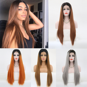 Charisma Ombre Wigs with Black Roots High Temperature Fiber Straight Hair Synthetic Lace Front Wig for Black Women Cosplay Wigs