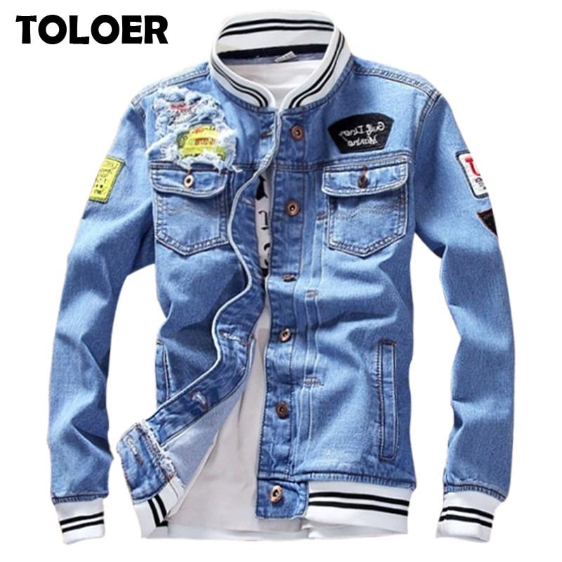 Однотонная Повседневная тонкая мужская джинсовая куртка размера плюс 5XL, куртка бомбер, Мужская Высококачественная ковбойская Мужская Весенняя джинсовая куртка Chaqueta Hombre Куртки      АлиЭкспресс