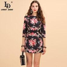 LD LINDA DELLA Autumn Fashion Runway Retro Dress Women's 3/4 Sleeve Vintage Floral Print Jacquard Beading A Line Short Dress retro print 3 4 sleeve button smock dress