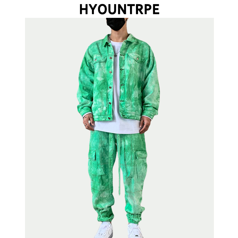 2 Pieces Sets Men Fashion Tie-dyed Single Breasted Denim Jeans Jacket Coat And Loose Fit Zipper Pants Joggers Streetwear Sets