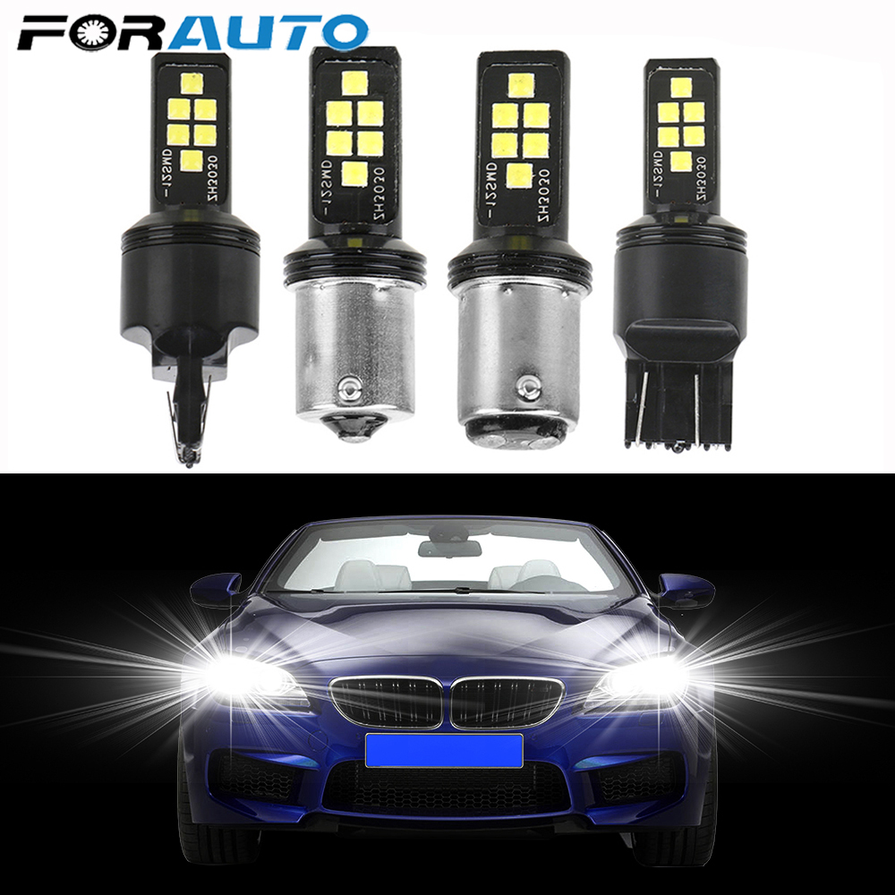 FORAUTO W21/5W 7443 <font><b>T20</b></font> W21W <font><b>7440</b></font> 1157 P21/5W BAY15D Car Reserve Lamps 12 <font><b>LED</b></font> 1156 P21W BA15S Signal Lamp Auto Brake Light image