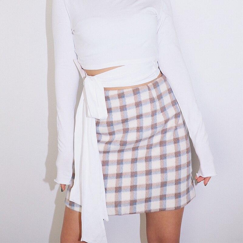 2019 Новая модная женская одежда Клетчатая Шерстяная Юбка Осенняя юбка с высокой талией зимняя