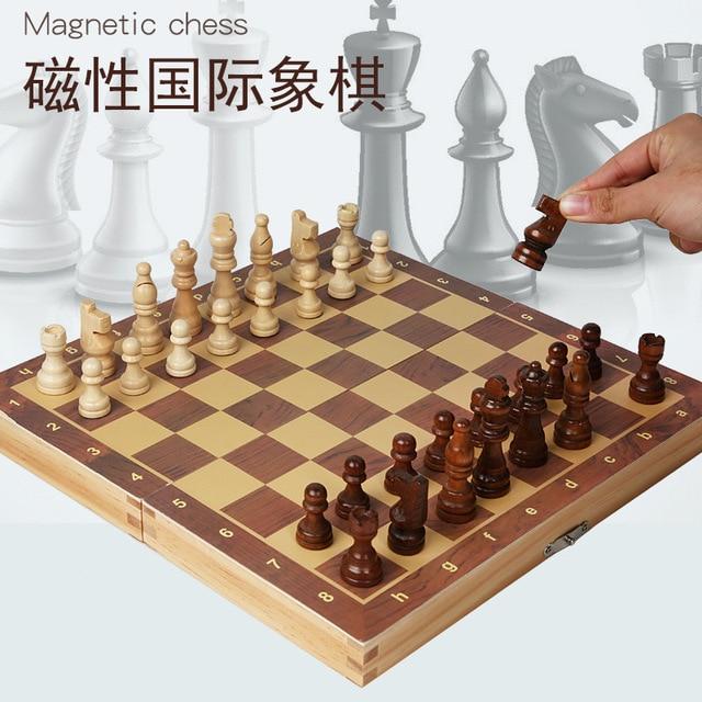 Jeu d'échecs magnétique pliable en bois massif pour débutants 29cm x 29cm 2