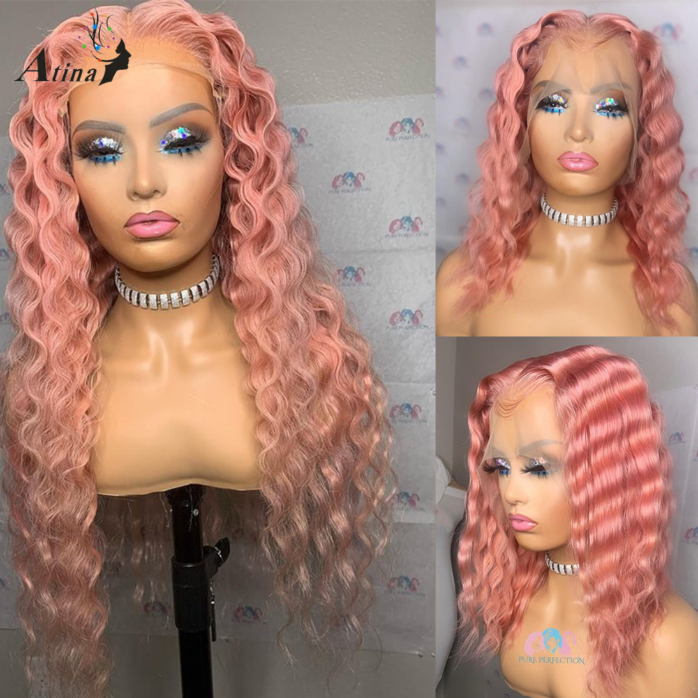 Atina HD transparente rizado Color rosa Invisible malla con división pelucas de cabello humano para las mujeres Pre arrancado 613 rubia pelucas 130 densidad Remy