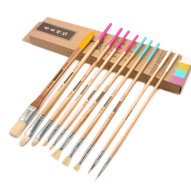 Set Of 10 Artist Brushes Pig Bristle Acrylic Paint By Numbers Blending