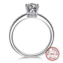 купить 1.5 Carat NOT FAKE S925 Sterling Silver Ring SONA Diamond Luxury Fine Crown Style Ring Queen Love Wedding Engagement simple 925 дешево