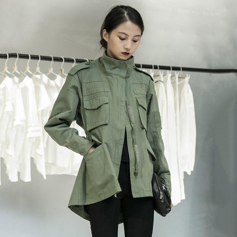 [EAM] Loose Fit Back Irregular Two Ways Wear Big Size Jacket New Lapel Long Sleeve Women Coat Fashion Spring Autumn 2020 1DA902 3
