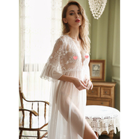 Women's Ultra thin Sexy Eyelash Lace Lace Robe Bathrobe Extreme Temptation Mesh Perspective Transparent Pajamas