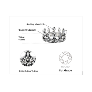 Image 5 - JewelryPalace Vintage Gothic Cubic Zirconia Tiara Crown Ring 925 Sterling Silver Rings for Women Jewelry Making Fashion Jewelry